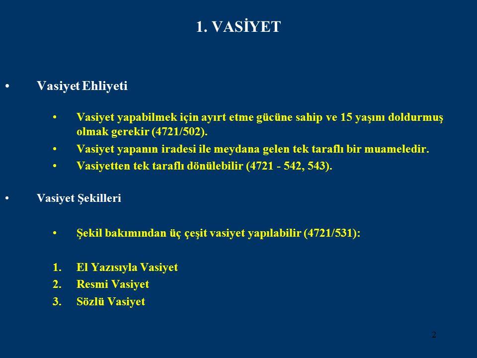 3 El Yazısıyla Vasiyet (4721/538) Vasiyetçinin bizzat kendi el yazısıyla yaptığı vasiyettir.