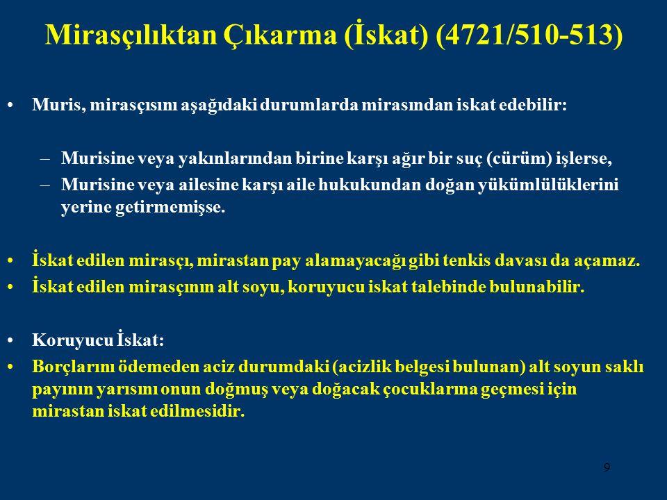 9 Mirasçılıktan Çıkarma (İskat) (4721/510-513) Muris, mirasçısını aşağıdaki durumlarda mirasından iskat edebilir: –Murisine veya yakınlarından birine