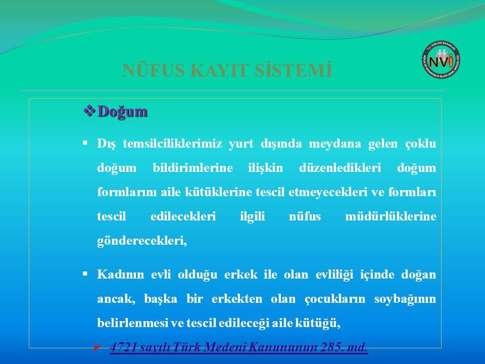 NÜFUS KAYIT SİSTEMİ  Ölüm-2  Yurt dışında Türk vatandaşlarının ölüm olaylarının yurt içinde nüfus müdürlüklerine bildirimi,  5490 Sayılı Nüfus Hizmetleri Kanununun 71.