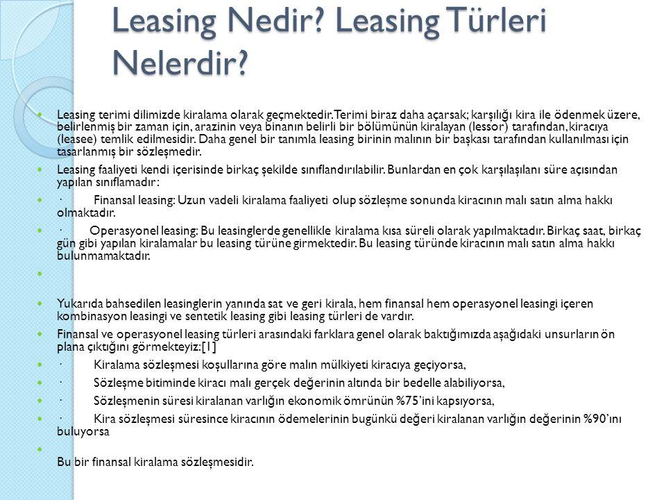 Leasing Nedir.Leasing Türleri Nelerdir. Leasing terimi dilimizde kiralama olarak geçmektedir.