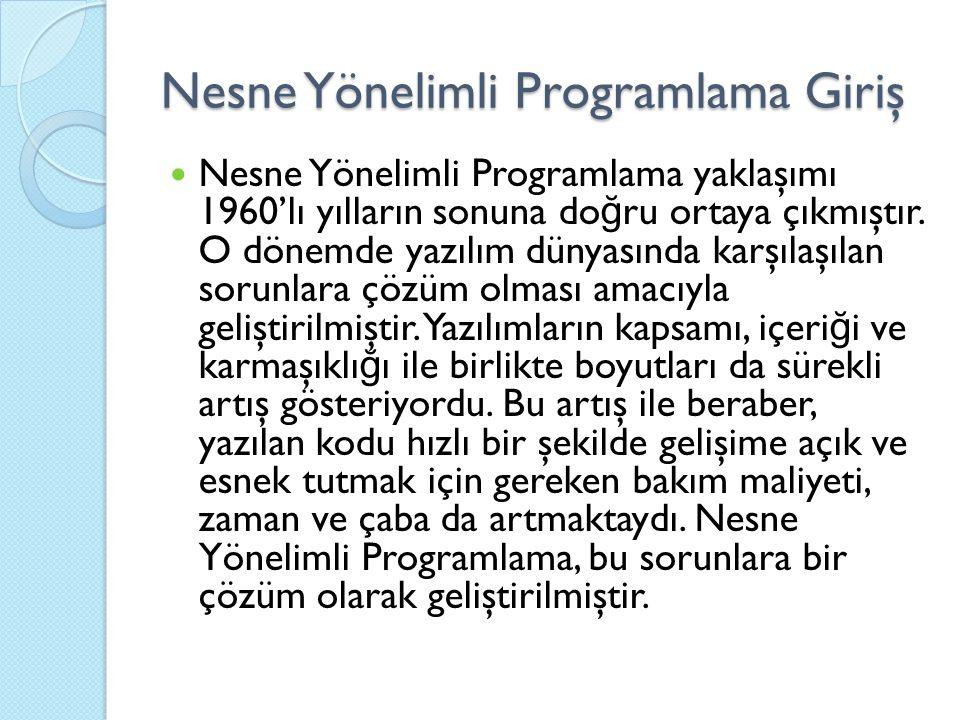 Nesne Yönelimli Programlama Giriş Nesne Yönelimli Programlama yaklaşımı 1960'lı yılların sonuna do ğ ru ortaya çıkmıştır.