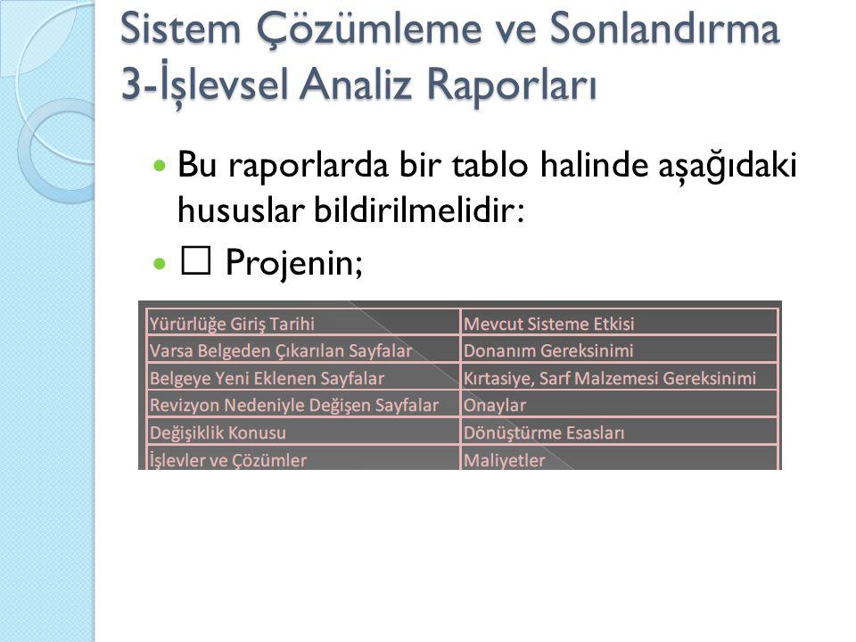 Sistem Çözümleme ve Sonlandırma 3- İ şlevsel Analiz Raporları Bu raporlarda bir tablo halinde aşa ğ ıdaki hususlar bildirilmelidir:  Projenin;