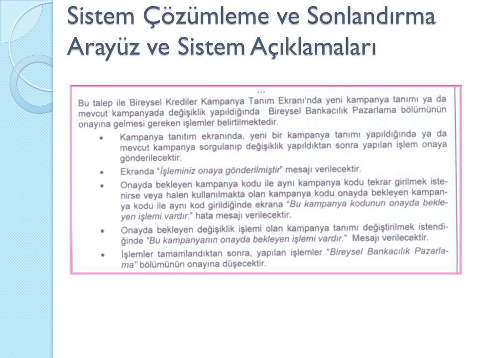 Sistem Çözümleme ve Sonlandırma Arayüz ve Sistem Açıklamaları
