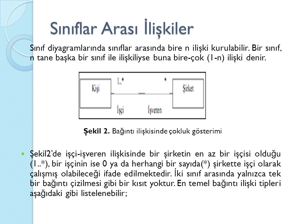 Sınıf diyagramlarında sınıflar arasında bire n ilişki kurulabilir.