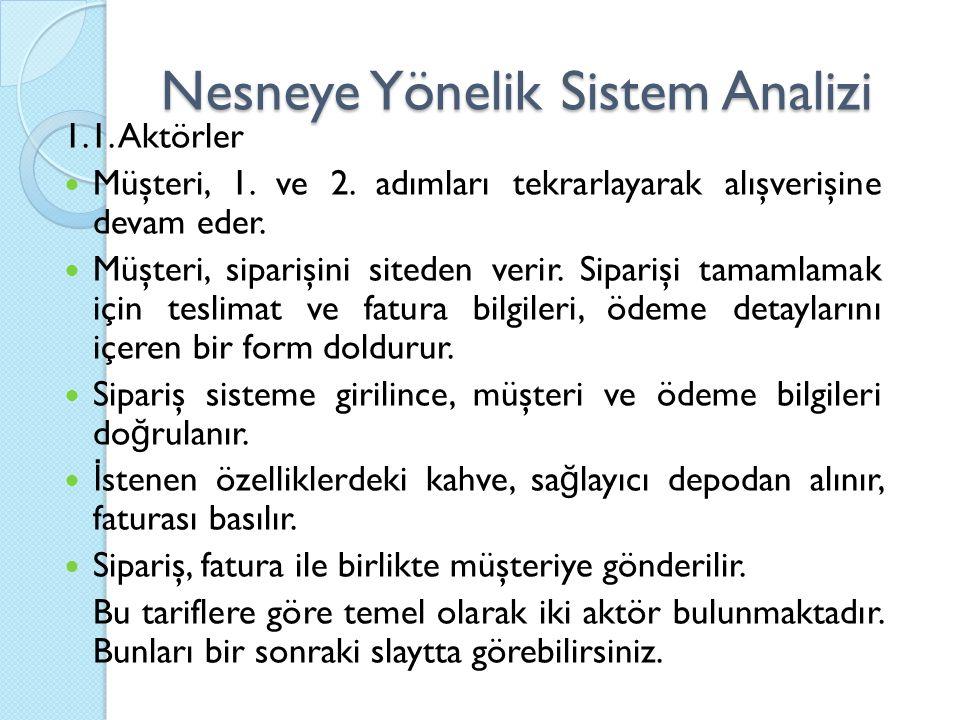 Nesneye Yönelik Sistem Analizi 1.1. Aktörler Müşteri, 1.