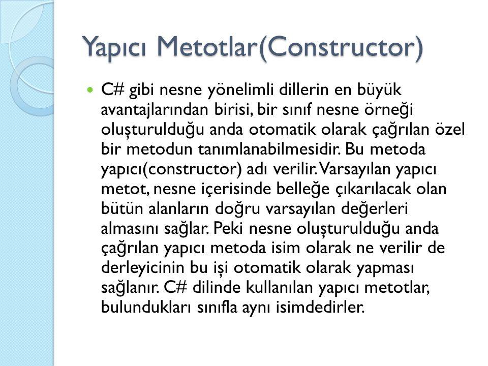 Yapıcı Metotlar(Constructor) C# gibi nesne yönelimli dillerin en büyük avantajlarından birisi, bir sınıf nesne örne ğ i oluşturuldu ğ u anda otomatik olarak ça ğ rılan özel bir metodun tanımlanabilmesidir.