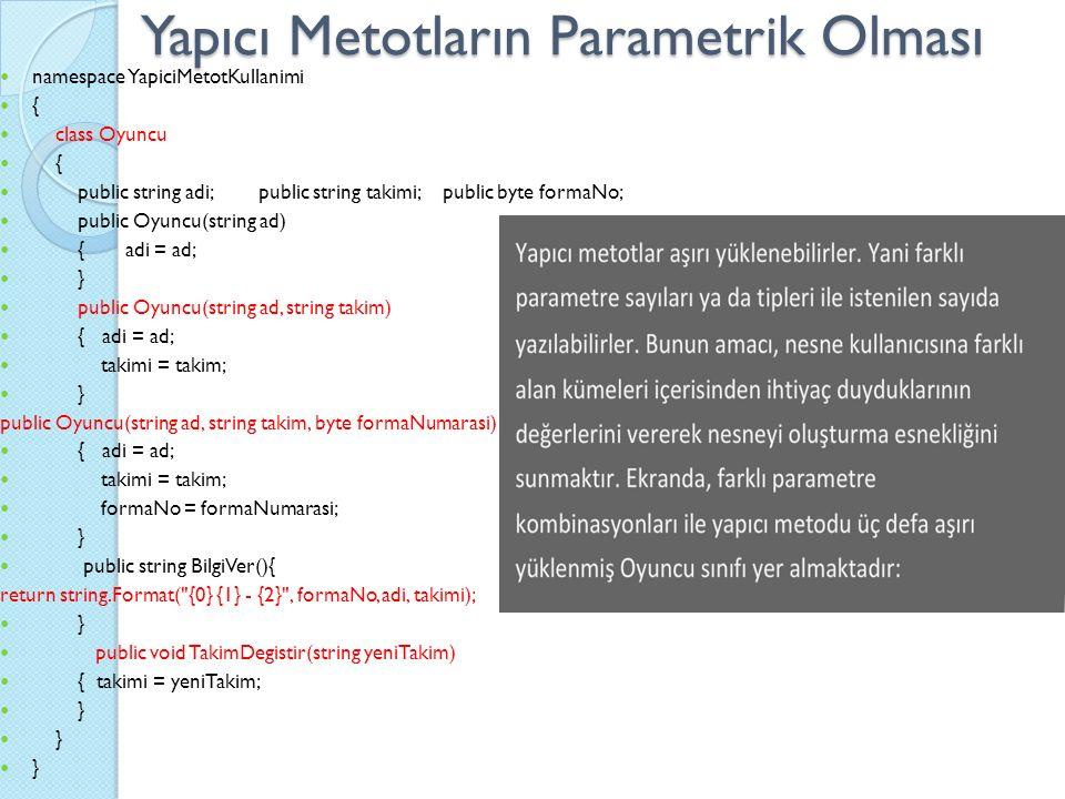 Yapıcı Metotların Parametrik Olması namespace YapiciMetotKullanimi { class Oyuncu { public string adi; public string takimi; public byte formaNo; public Oyuncu(string ad) { adi = ad; } public Oyuncu(string ad, string takim) { adi = ad; takimi = takim; } public Oyuncu(string ad, string takim, byte formaNumarasi) { adi = ad; takimi = takim; formaNo = formaNumarasi; } public string BilgiVer(){ return string.Format( {0} {1} - {2} , formaNo, adi, takimi); } public void TakimDegistir(string yeniTakim) { takimi = yeniTakim; }