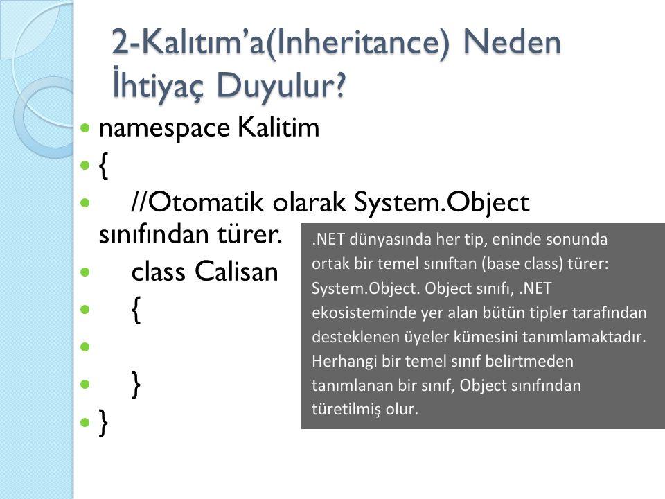 namespace Kalitim { //Otomatik olarak System.Object sınıfından türer. class Calisan { }