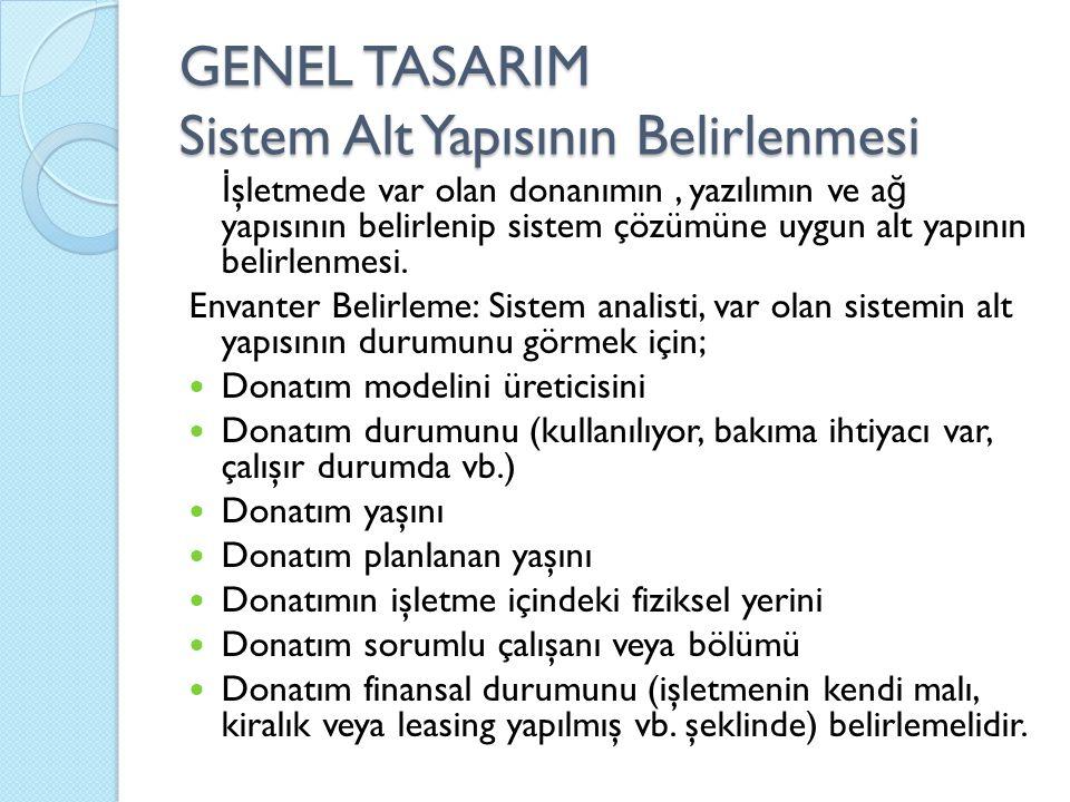 GENEL TASARIM Sistem Alt Yapısının Belirlenmesi İ şletmede var olan donanımın, yazılımın ve a ğ yapısının belirlenip sistem çözümüne uygun alt yapının belirlenmesi.