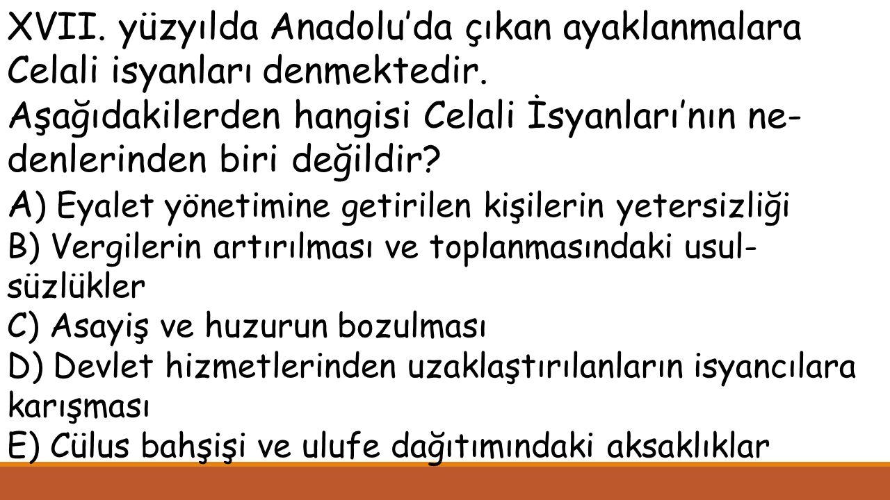 XVII. yüzyılda Anadolu'da çıkan ayaklanmalara Celali isyanları denmektedir.
