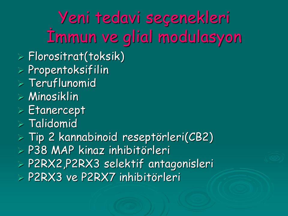 Yeni tedavi seçenekleri İmmun ve glial modulasyon  Florositrat(toksik)  Propentoksifilin  Teruflunomid  Minosiklin  Etanercept  Talidomid  Tip 2 kannabinoid reseptörleri(CB2)  P38 MAP kinaz inhibitörleri  P2RX2,P2RX3 selektif antagonisleri  P2RX3 ve P2RX7 inhibitörleri