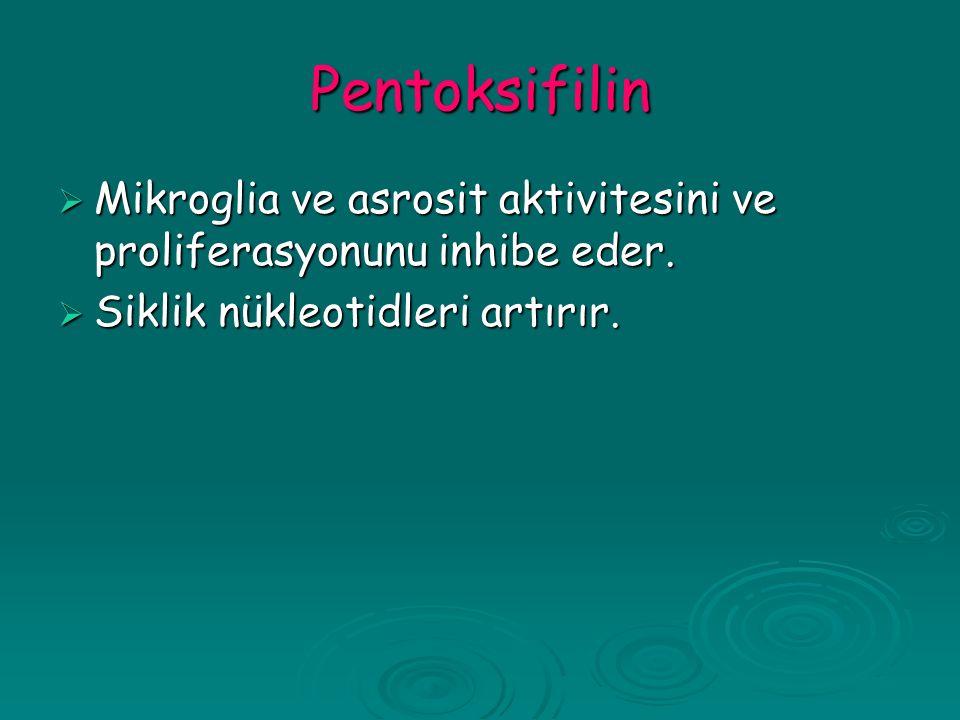 Pentoksifilin  Mikroglia ve asrosit aktivitesini ve proliferasyonunu inhibe eder.