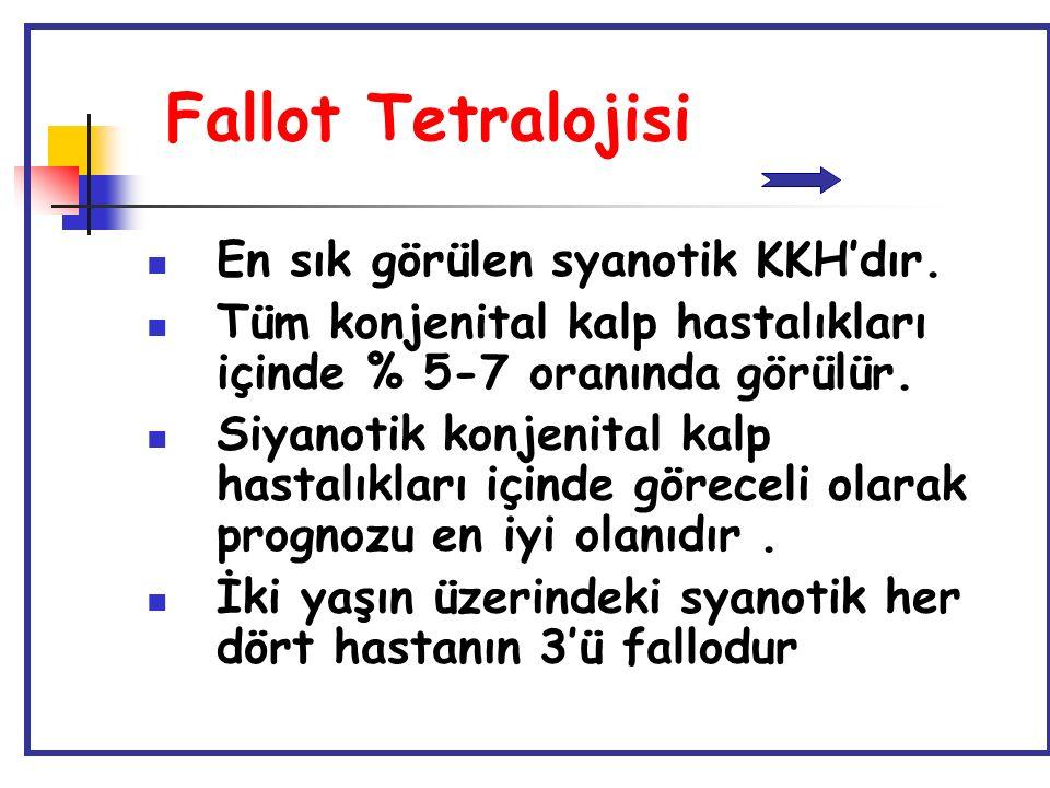 Fallot Tetralojisi En sık görülen syanotik KKH'dır. Tüm konjenital kalp hastalıkları içinde % 5-7 oranında görülür. Siyanotik konjenital kalp hastalık