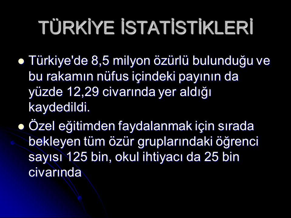 TÜRKİYE İSTATİSTİKLERİ Türkiye'de 8,5 milyon özürlü bulunduğu ve bu rakamın nüfus içindeki payının da yüzde 12,29 civarında yer aldığı kaydedildi. Tür