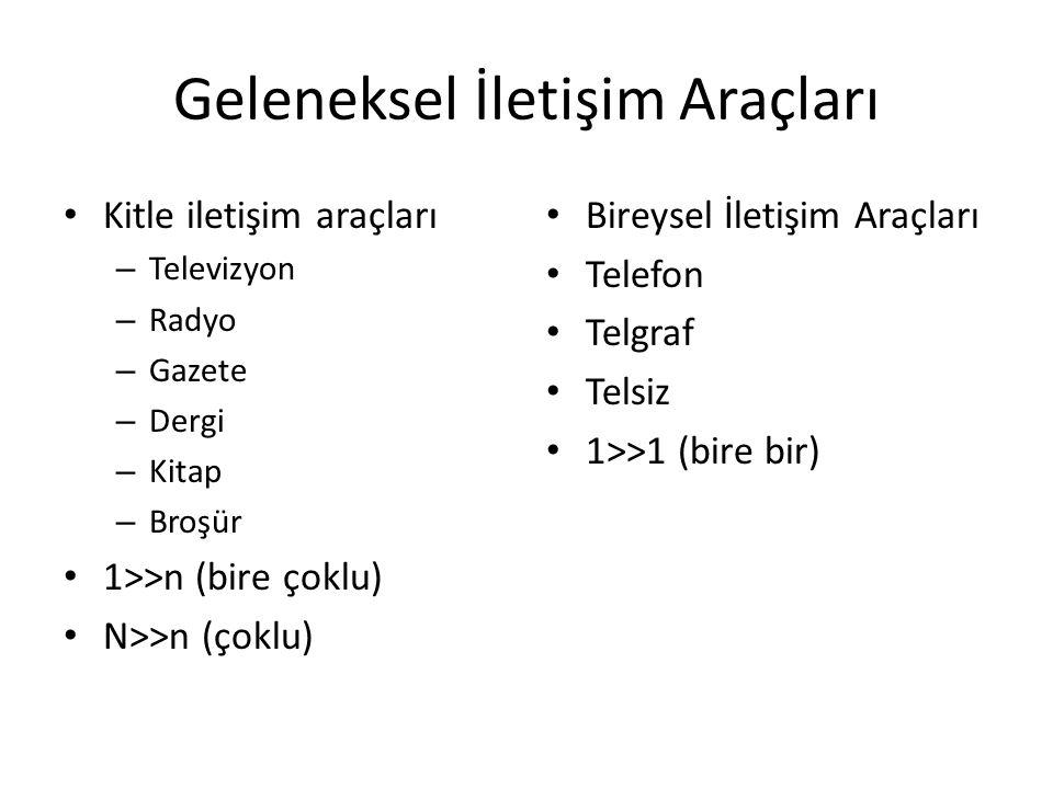 Geleneksel İletişim Araçları Kitle iletişim araçları – Televizyon – Radyo – Gazete – Dergi – Kitap – Broşür 1>>n (bire çoklu) N>>n (çoklu) Bireysel İl