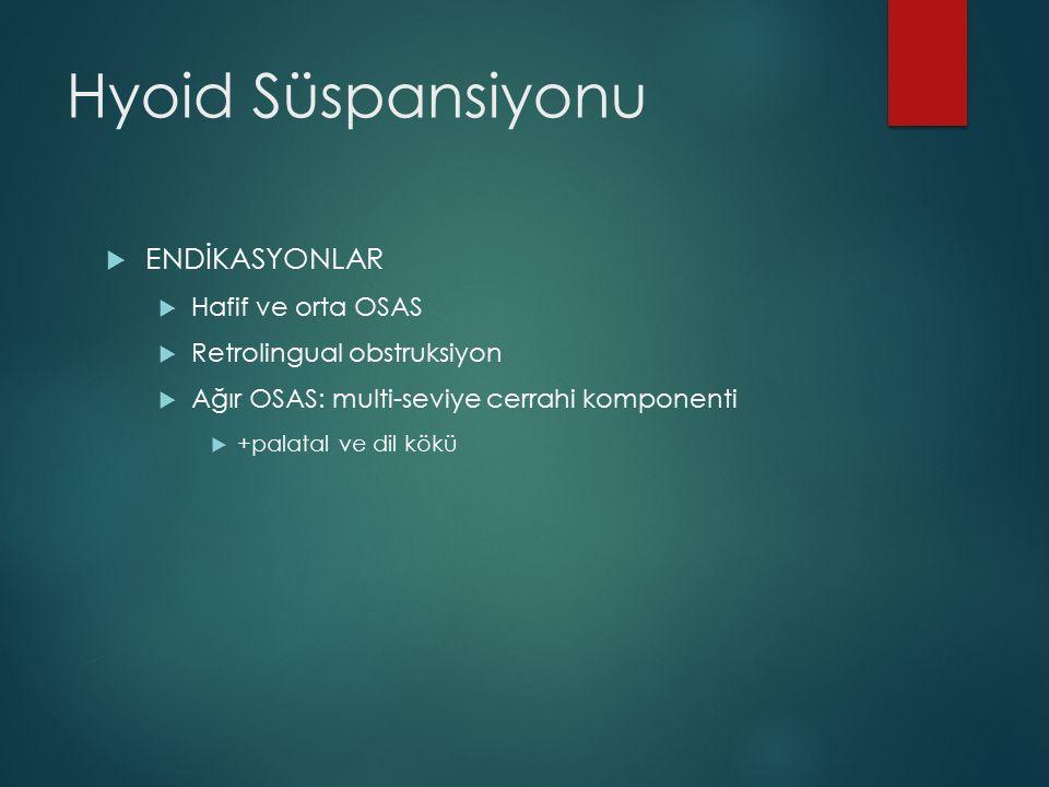 Hyoid Süspansiyonu  ENDİKASYONLAR  Hafif ve orta OSAS  Retrolingual obstruksiyon  Ağır OSAS: multi-seviye cerrahi komponenti  +palatal ve dil kök