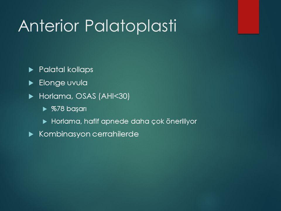 Anterior Palatoplasti  Palatal kollaps  Elonge uvula  Horlama, OSAS (AHI<30)  %78 başarı  Horlama, hafif apnede daha çok öneriliyor  Kombinasyon