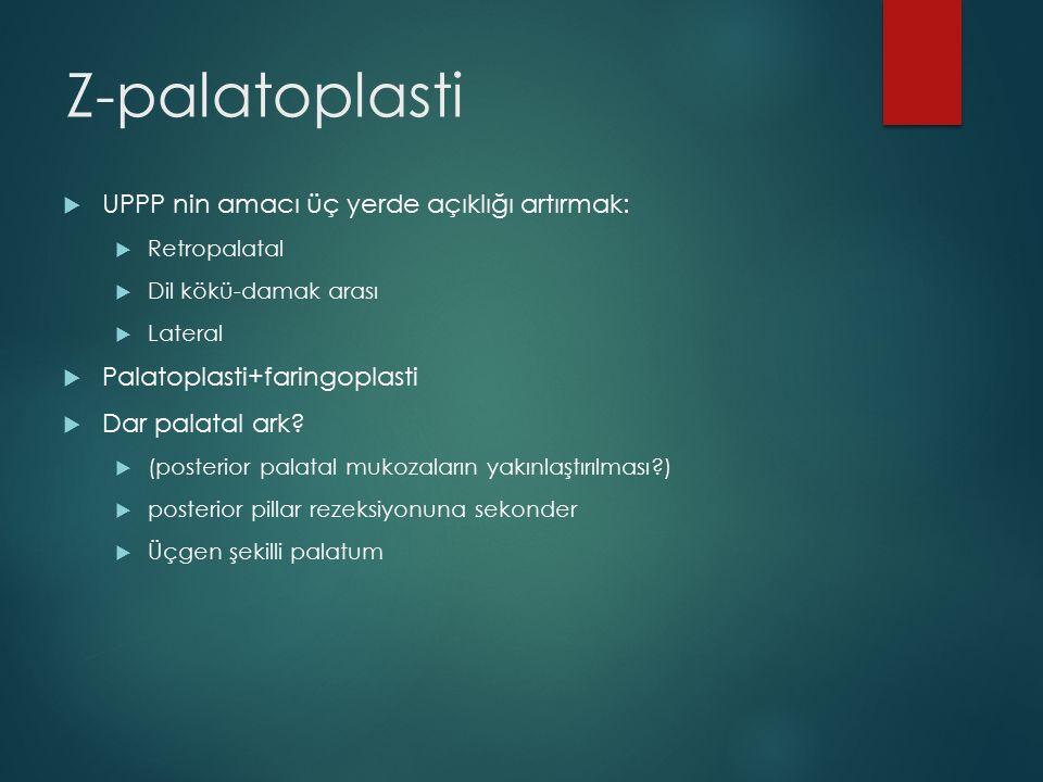  UPPP nin amacı üç yerde açıklığı artırmak:  Retropalatal  Dil kökü-damak arası  Lateral  Palatoplasti+faringoplasti  Dar palatal ark?  (poster