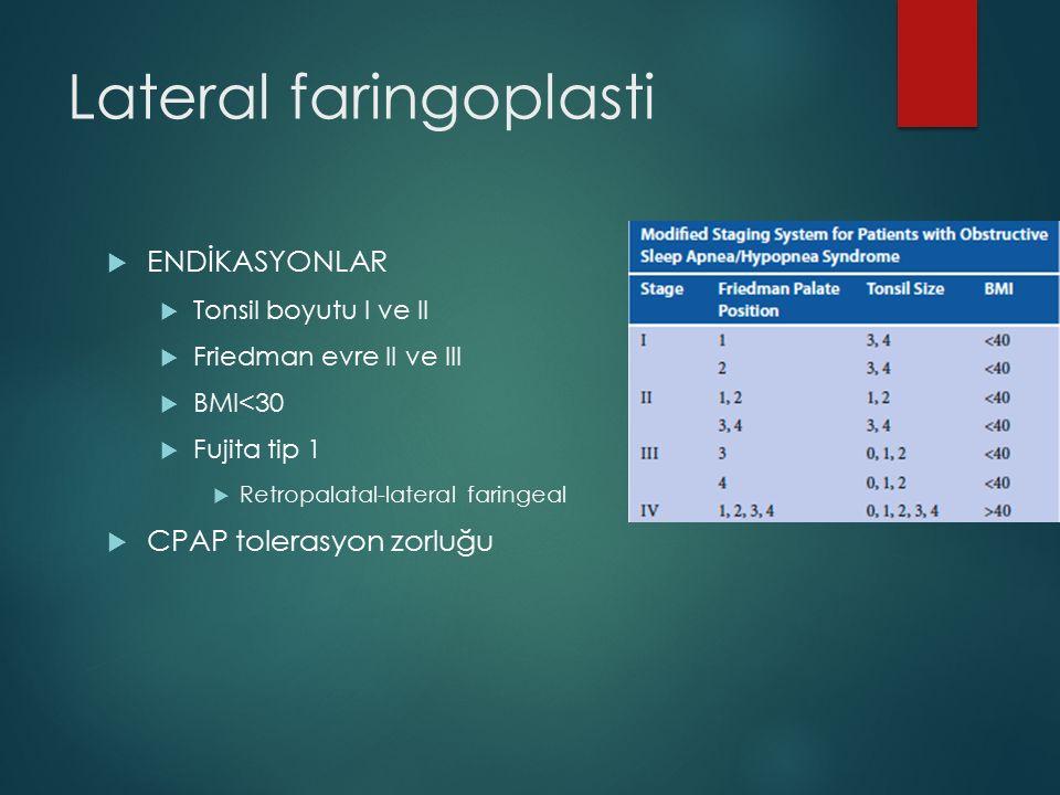 Lateral faringoplasti  ENDİKASYONLAR  Tonsil boyutu I ve II  Friedman evre II ve III  BMI<30  Fujita tip 1  Retropalatal-lateral faringeal  CPA