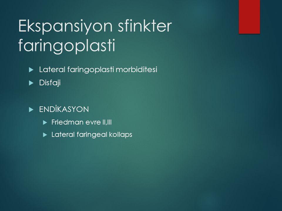  Lateral faringoplasti morbiditesi  Disfaji  ENDİKASYON  Friedman evre II,III  Lateral faringeal kollaps