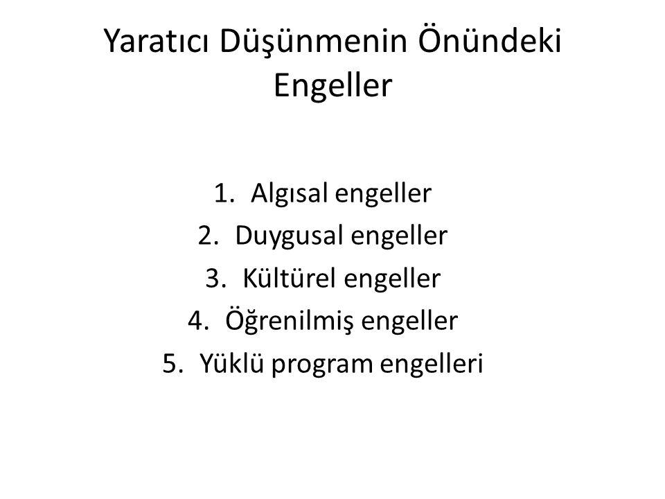 Yaratıcı Düşünmenin Önündeki Engeller 1.Algısal engeller 2.Duygusal engeller 3.Kültürel engeller 4.Öğrenilmiş engeller 5.Yüklü program engelleri