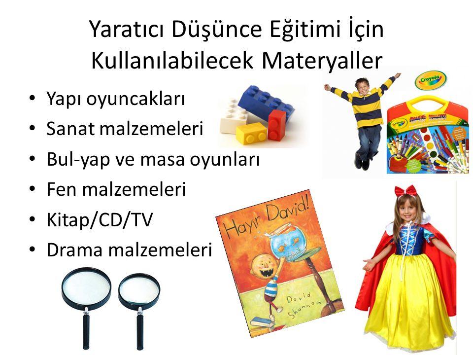 Yaratıcı Düşünce Eğitimi İçin Kullanılabilecek Materyaller Yapı oyuncakları Sanat malzemeleri Bul-yap ve masa oyunları Fen malzemeleri Kitap/CD/TV Dra