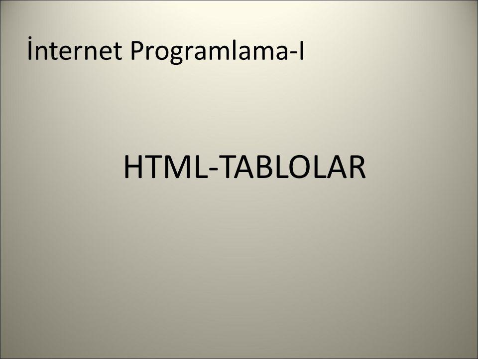 İnternet Programlama-I HTML-TABLOLAR