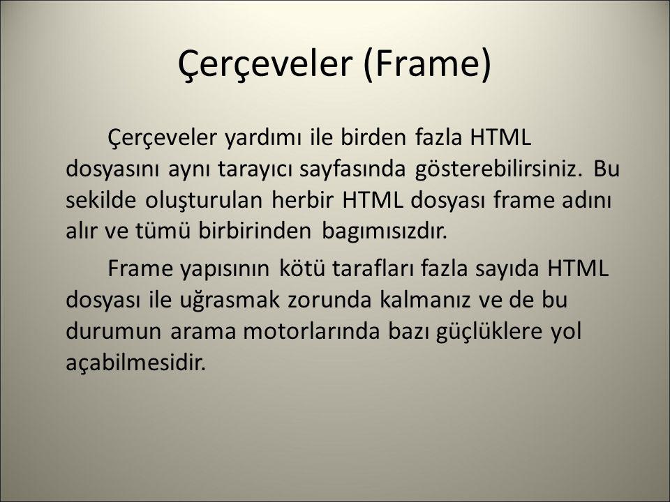 Çerçeveler (Frame) Çerçeveler yardımı ile birden fazla HTML dosyasını aynı tarayıcı sayfasında gösterebilirsiniz. Bu sekilde oluşturulan herbir HTML d
