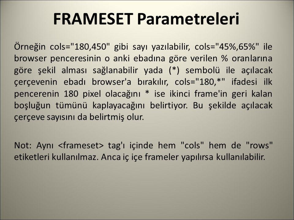 FRAMESET Parametreleri Örneğin cols=
