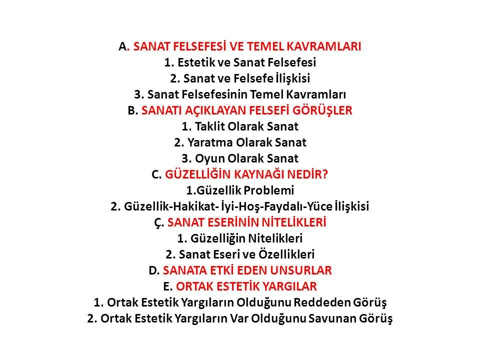 SANATI AÇIKLAYAN FELSEFİ GÖRÜŞLER 1.