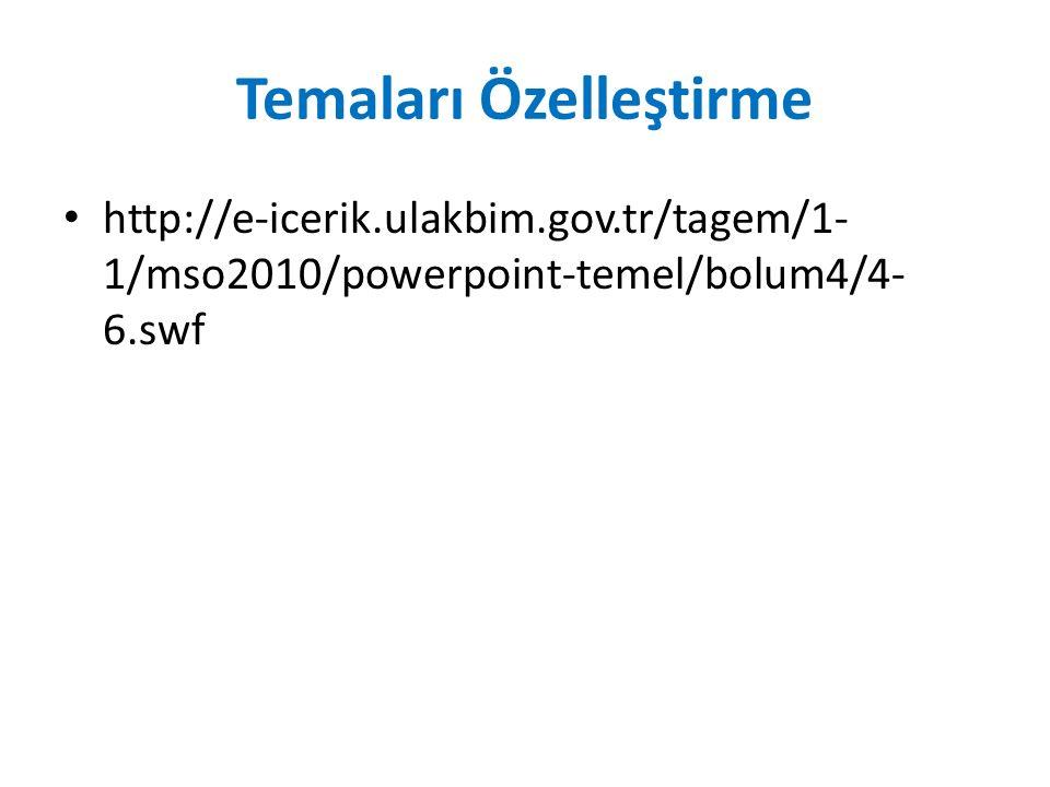 Temaları Özelleştirme http://e-icerik.ulakbim.gov.tr/tagem/1- 1/mso2010/powerpoint-temel/bolum4/4- 6.swf