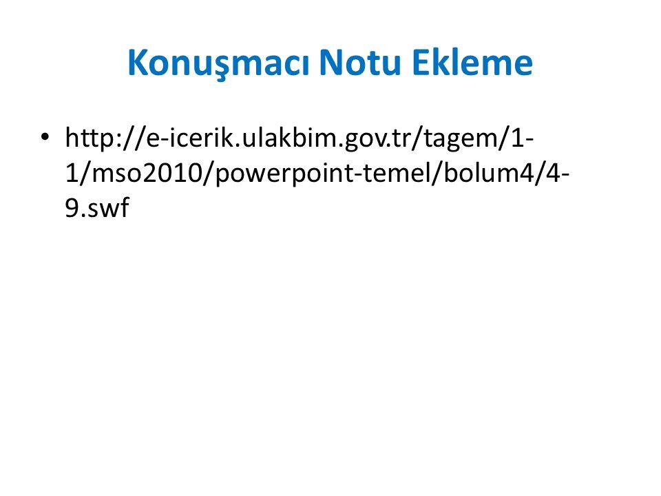 Konuşmacı Notu Ekleme http://e-icerik.ulakbim.gov.tr/tagem/1- 1/mso2010/powerpoint-temel/bolum4/4- 9.swf