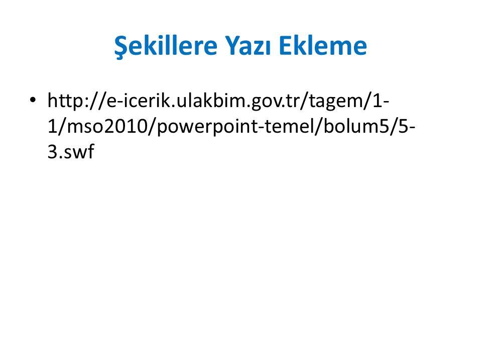 Şekillere Yazı Ekleme http://e-icerik.ulakbim.gov.tr/tagem/1- 1/mso2010/powerpoint-temel/bolum5/5- 3.swf