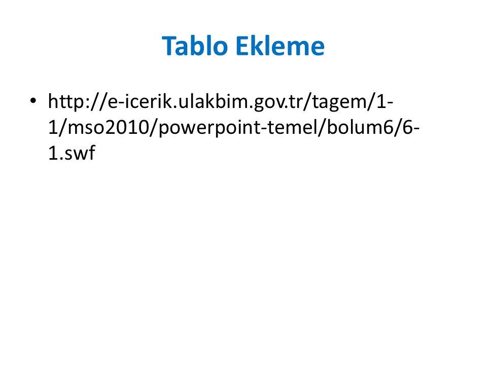Tablo Ekleme http://e-icerik.ulakbim.gov.tr/tagem/1- 1/mso2010/powerpoint-temel/bolum6/6- 1.swf