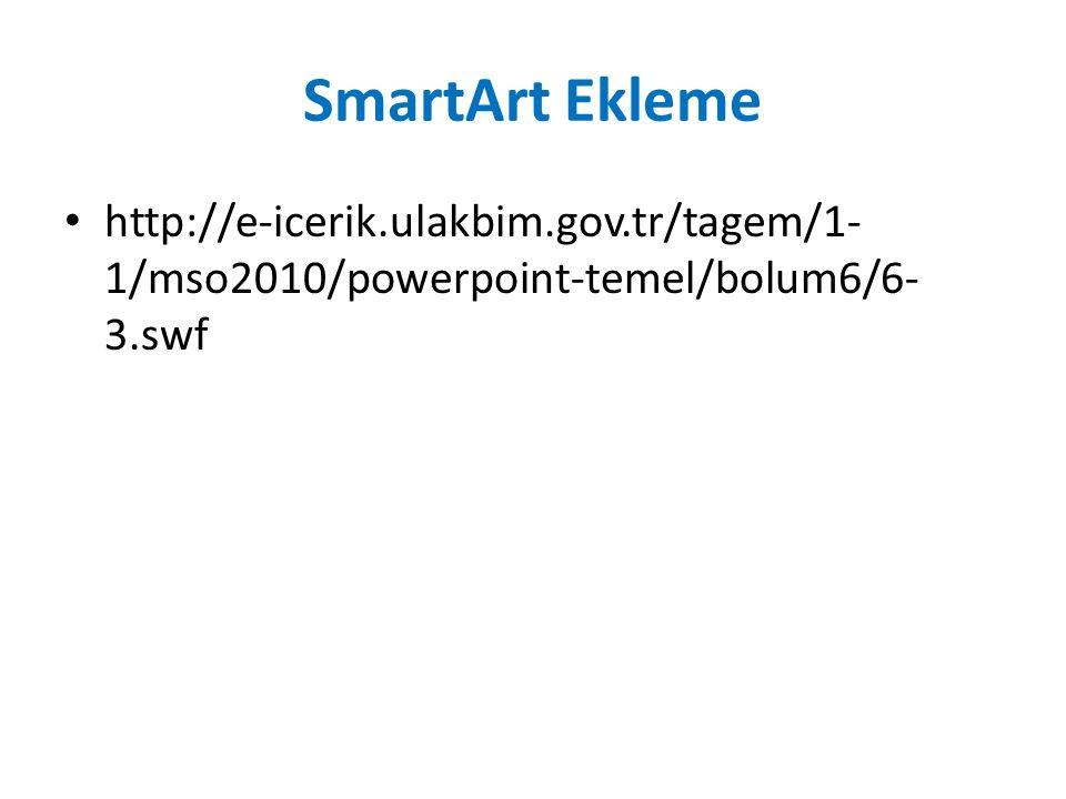 SmartArt Ekleme http://e-icerik.ulakbim.gov.tr/tagem/1- 1/mso2010/powerpoint-temel/bolum6/6- 3.swf