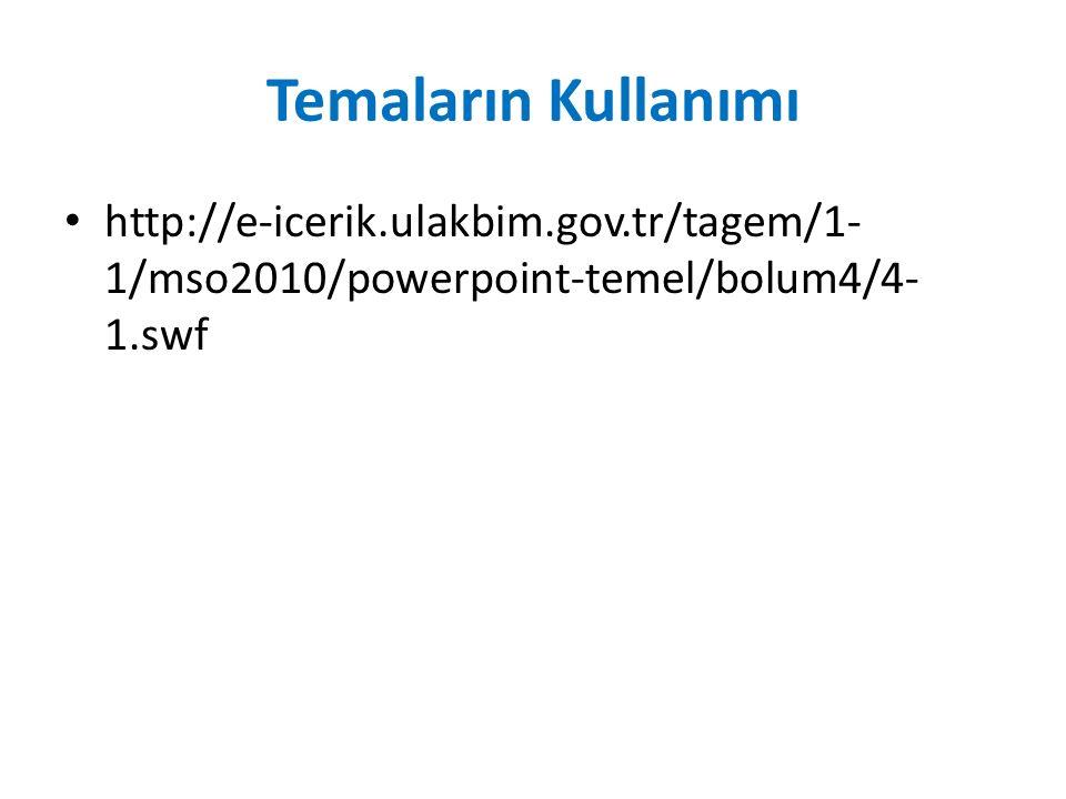 Temaların Kullanımı http://e-icerik.ulakbim.gov.tr/tagem/1- 1/mso2010/powerpoint-temel/bolum4/4- 1.swf