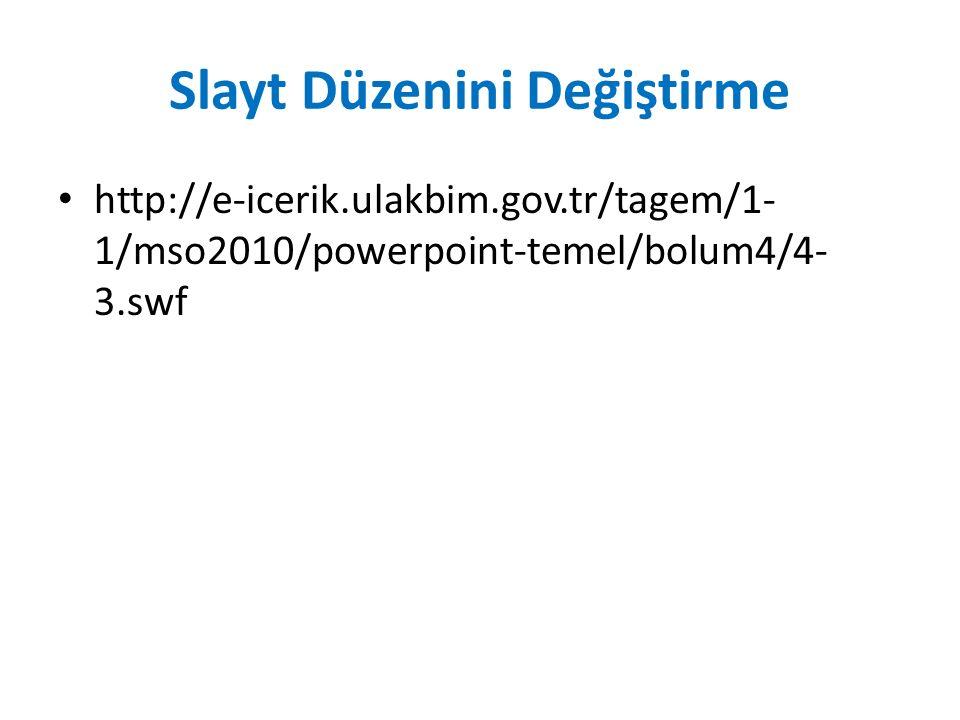 Slayt Düzenini Değiştirme http://e-icerik.ulakbim.gov.tr/tagem/1- 1/mso2010/powerpoint-temel/bolum4/4- 3.swf