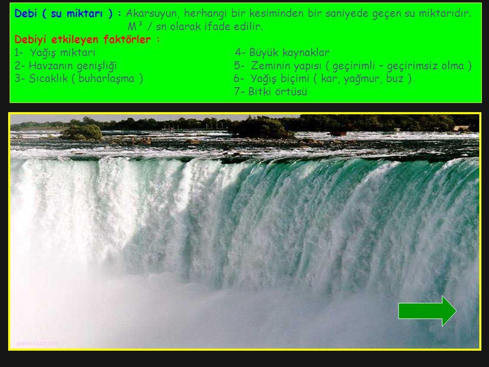 Debi ( su miktarı ) : Akarsuyun, herhangi bir kesiminden bir saniyede geçen su miktarıdır. M³ / sn olarak ifade edilir. Debiyi etkileyen faktörler : 1