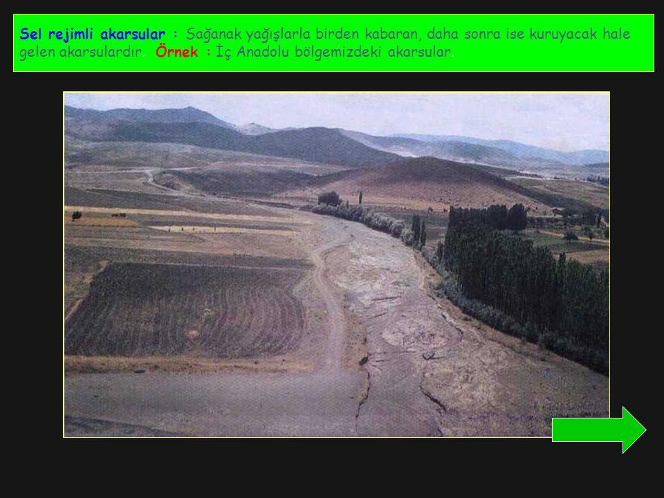 Sel rejimli akarsular : Sağanak yağışlarla birden kabaran, daha sonra ise kuruyacak hale gelen akarsulardır. Örnek : İç Anadolu bölgemizdeki akarsular
