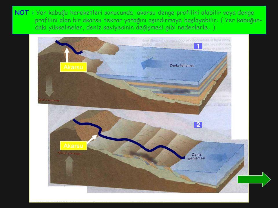 NOT : Yer kabuğu hareketleri sonucunda, akarsu denge profilini alabilir veya denge profilini alan bir akarsu tekrar yatağını aşındırmaya başlayabilir.