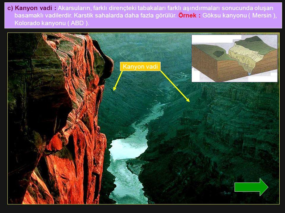 c) Kanyon vadi : Akarsuların, farklı dirençteki tabakaları farklı aşındırmaları sonucunda oluşan basamaklı vadilerdir. Karstik sahalarda daha fazla gö