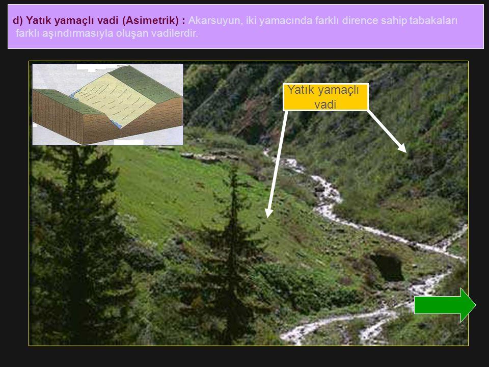 d) Yatık yamaçlı vadi (Asimetrik) : Akarsuyun, iki yamacında farklı dirence sahip tabakaları farklı aşındırmasıyla oluşan vadilerdir. Yatık yamaçlı va