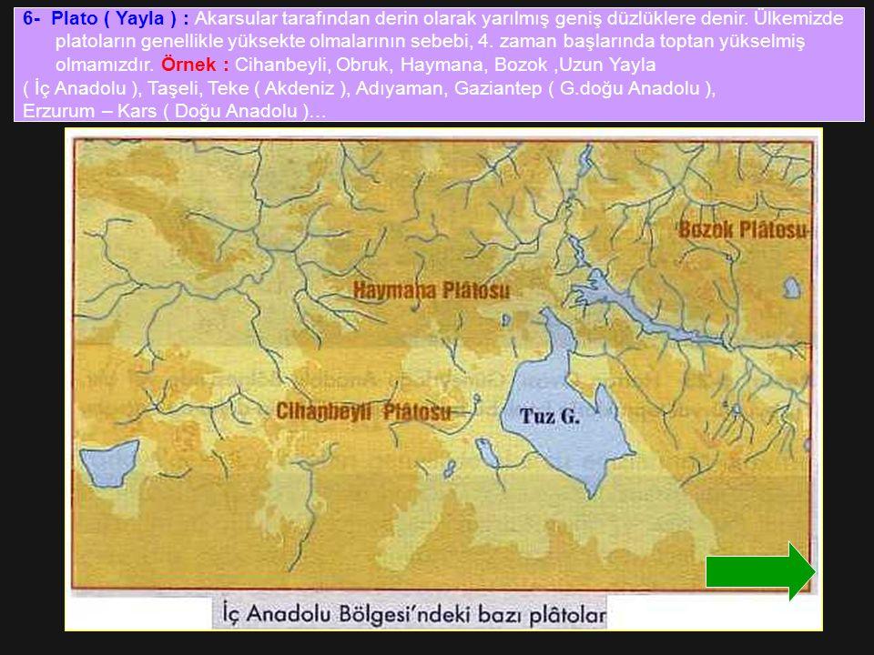 6- Plato ( Yayla ) : Akarsular tarafından derin olarak yarılmış geniş düzlüklere denir. Ülkemizde platoların genellikle yüksekte olmalarının sebebi, 4