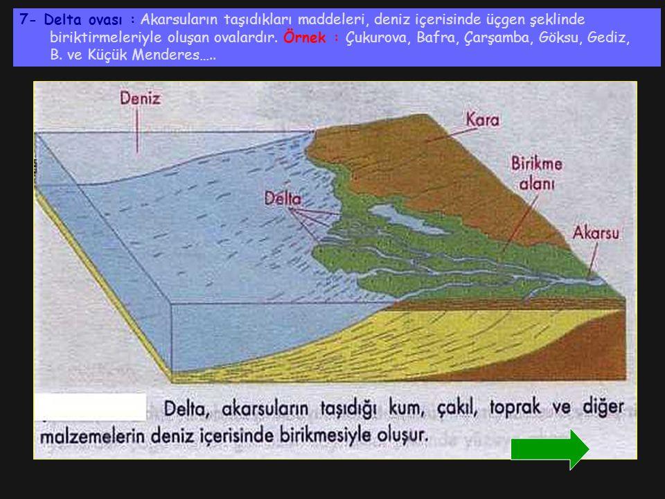 7- Delta ovası : Akarsuların taşıdıkları maddeleri, deniz içerisinde üçgen şeklinde biriktirmeleriyle oluşan ovalardır. Örnek : Çukurova, Bafra, Çarşa