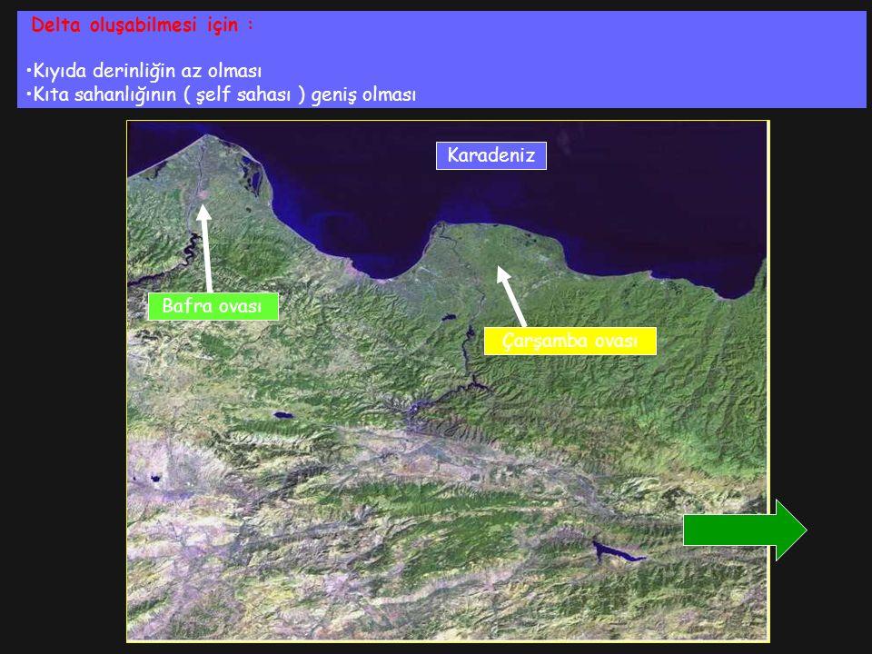 Delta oluşabilmesi için : Kıyıda derinliğin az olması Kıta sahanlığının ( şelf sahası ) geniş olması Çarşamba ovası Bafra ovası Karadeniz