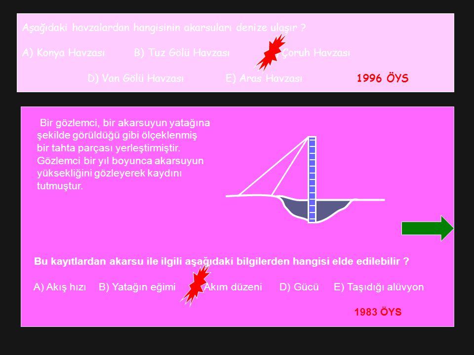 Aşağıdaki havzalardan hangisinin akarsuları denize ulaşır ? A) Konya Havzası B) Tuz Gölü Havzası C) Çoruh Havzası D) Van Gölü Havzası E) Aras Havzası