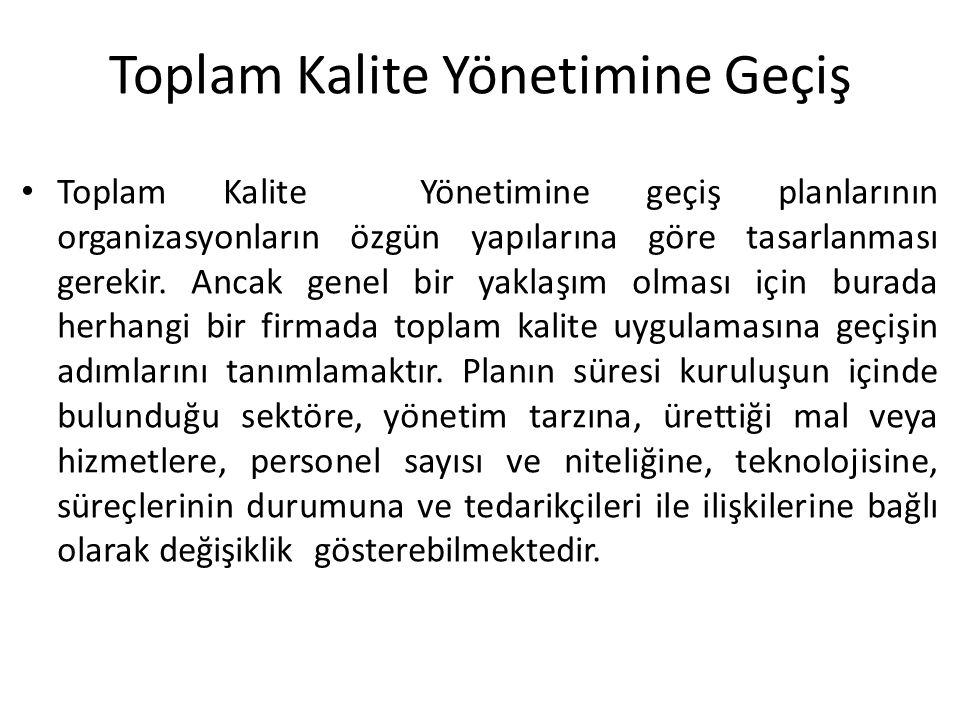 Toplam Kalite Yönetimine geçiş planlarının organizasyonların özgün yapılarına göre tasarlanması gerekir.