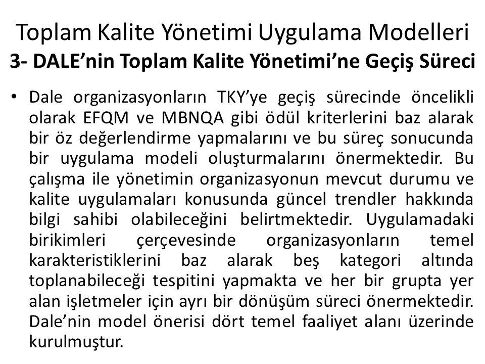 Toplam Kalite Yönetimi Uygulama Modelleri 3- DALE'nin Toplam Kalite Yönetimi'ne Geçiş Süreci Dale organizasyonların TKY'ye geçiş sürecinde öncelikli olarak EFQM ve MBNQA gibi ödül kriterlerini baz alarak bir öz değerlendirme yapmalarını ve bu süreç sonucunda bir uygulama modeli oluşturmalarını önermektedir.