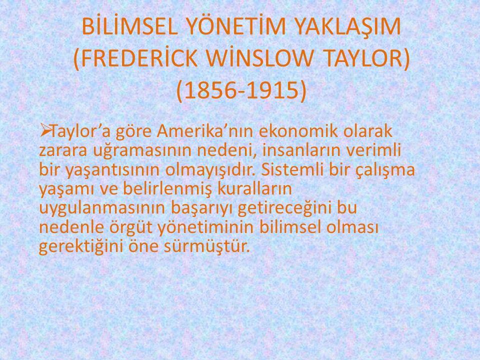 BİLİMSEL YÖNETİM YAKLAŞIM (FREDERİCK WİNSLOW TAYLOR) (1856-1915)  Taylor'a göre Amerika'nın ekonomik olarak zarara uğramasının nedeni, insanların ver