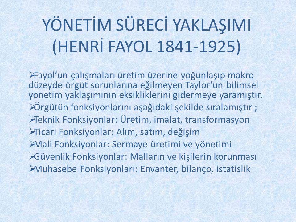 YÖNETİM SÜRECİ YAKLAŞIMI (HENRİ FAYOL 1841-1925)  Fayol'un çalışmaları üretim üzerine yoğunlaşıp makro düzeyde örgüt sorunlarına eğilmeyen Taylor'un
